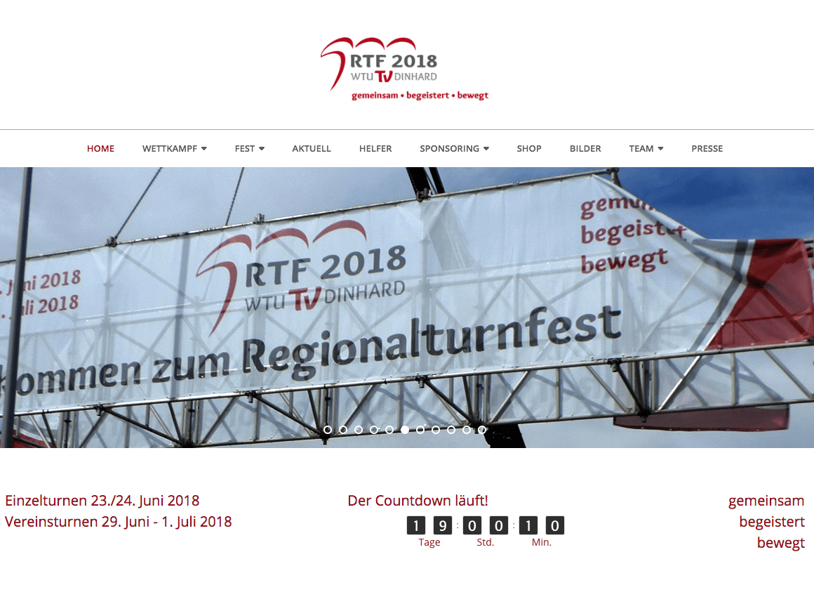 Vorschau auf das Regionalturnfest RTF 2018 in Dinhard