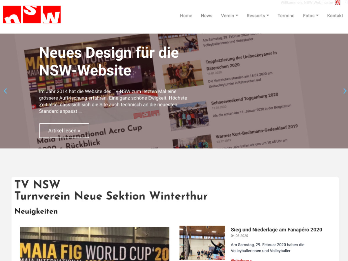 Re-Design der NSW-Website 2020